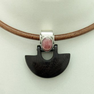 Sterling silver, wood and rhodochrosite pendant