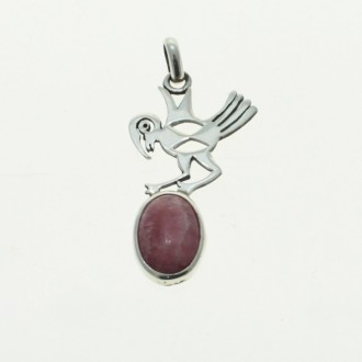 Sterling silver animals designs pendant with rhodochrosite |El Boyero