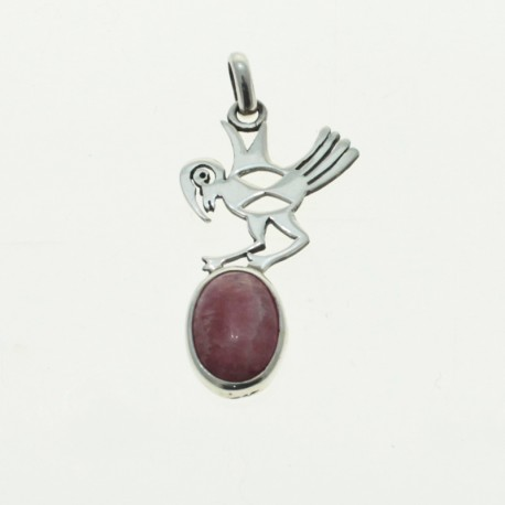 Sterling silver animals designs pendant with rhodochrosite