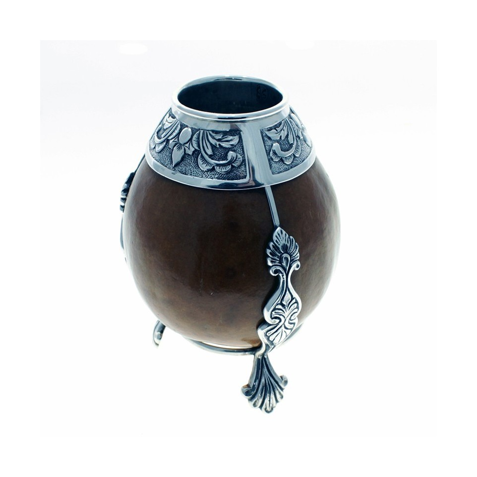 Small size mate gourd with sterling silver details |El Boyero
