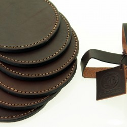 Six leather coasters set |El Boyero