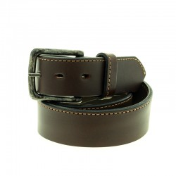 Thick cowhide leather belt with stitch |El Boyero