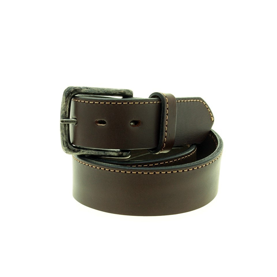 Thick cowhide leather belt with stitch