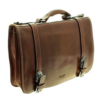 Soft brown cow leather briefcase with buckles |El Boyero