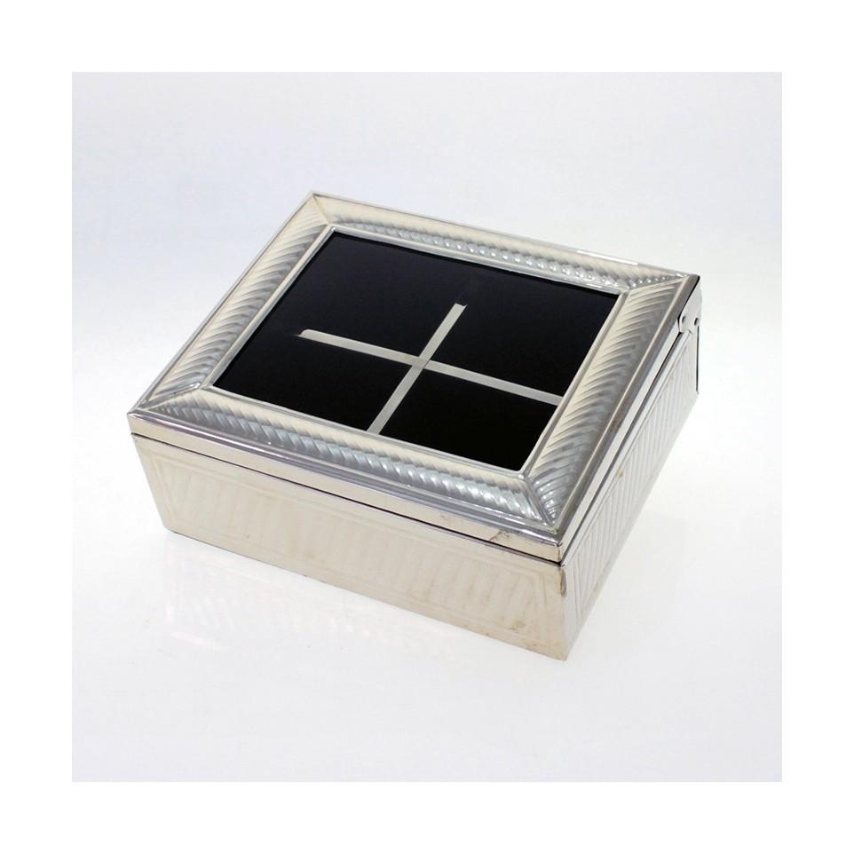 4 compartments nickel silver tea box |El Boyero