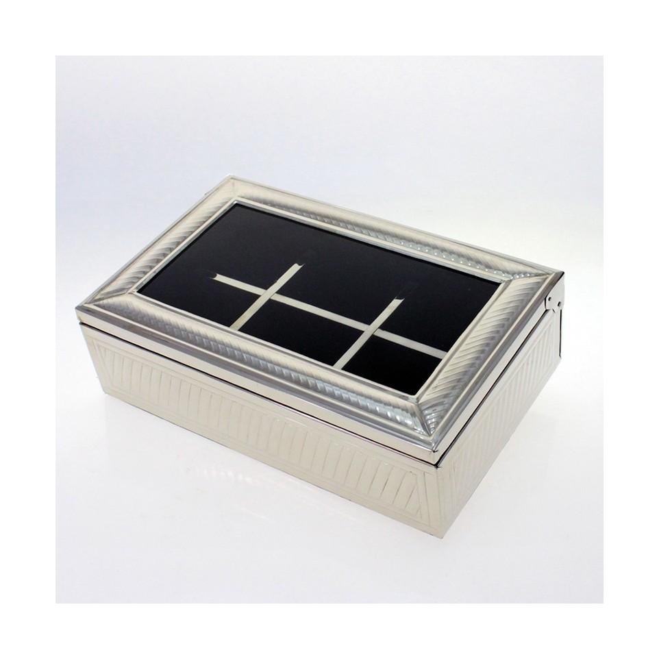 6 compartments nickel silver tea box |El Boyero