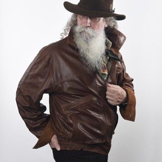 Goat leather reversible men jacket