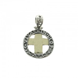 Sterling silver and gold Latina cross medal