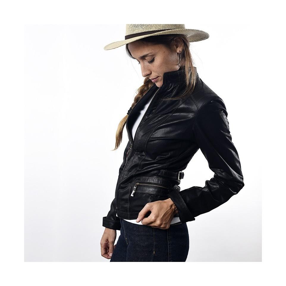 Goat leather womens jacket