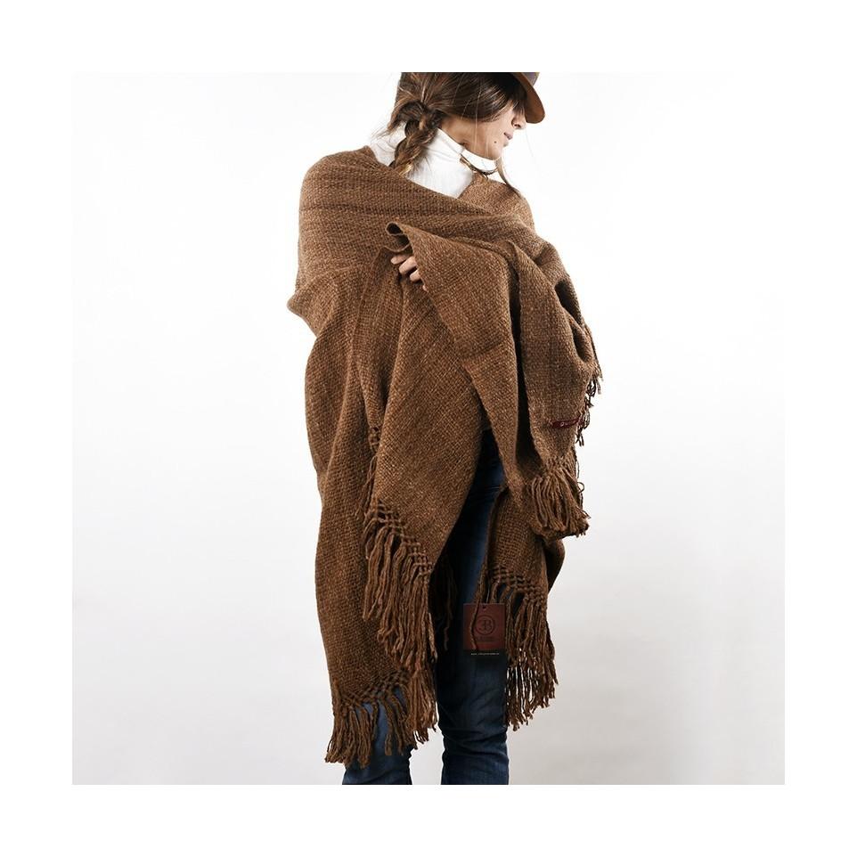 Llama knitted ruana