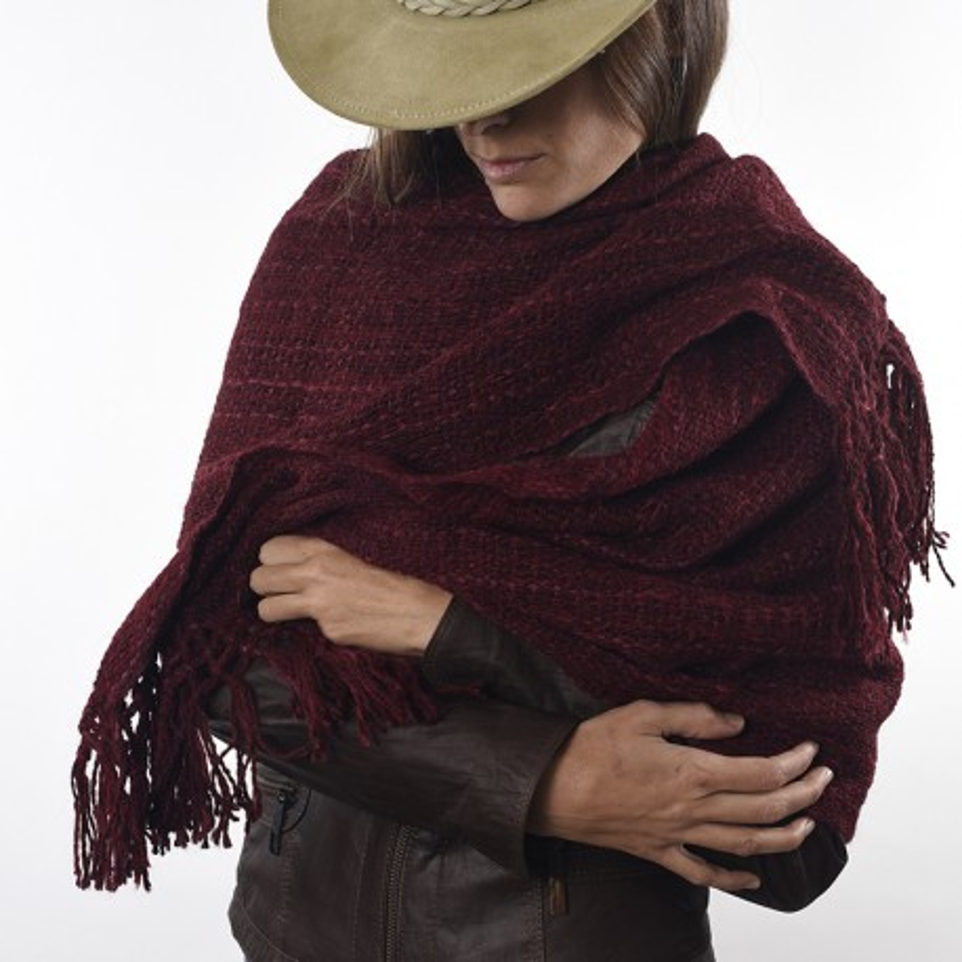 Dyed llama knitted shawl