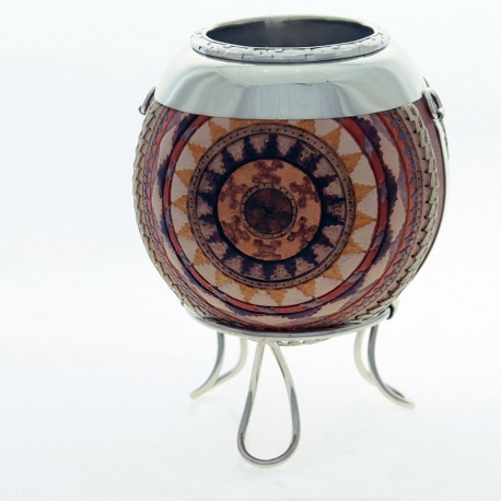 Mate covered with leather - Hand painted -