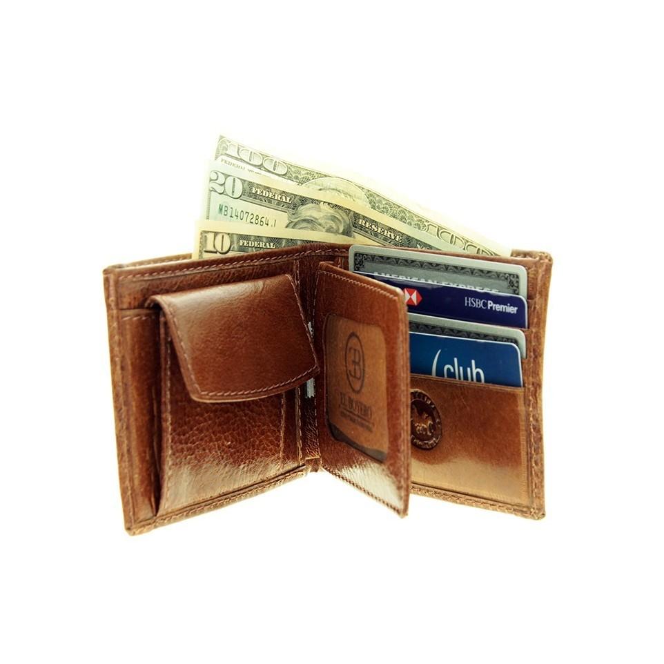 Billetera con Volante y Monedero - cuero carpincho