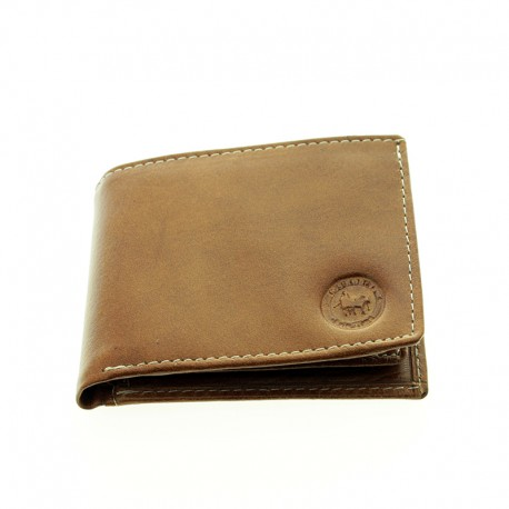 Trifold leather wallet with coin purse
