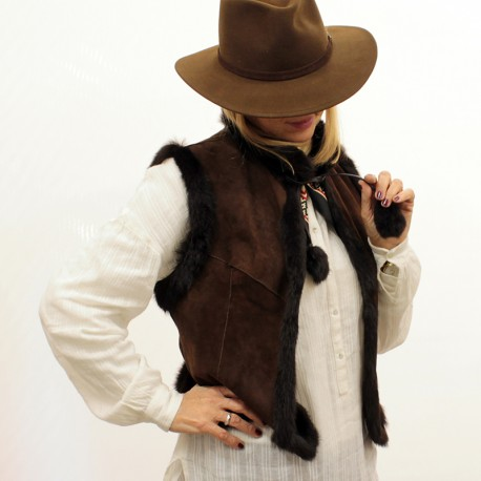 Rabbitskin reversible vest
