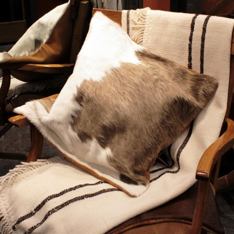 Cowhide brown and white cushion case