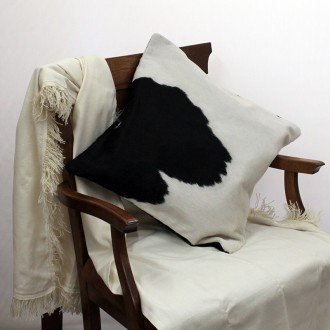 Cowhide black and white cushion case