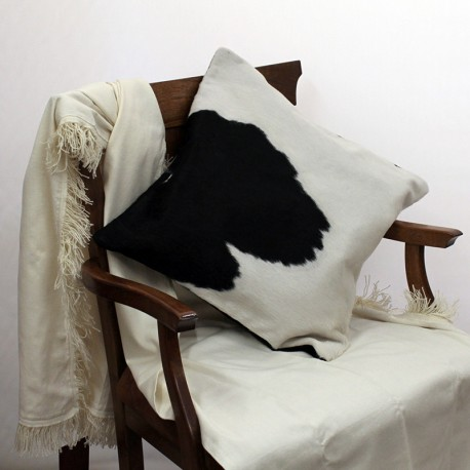 Cowhide black and white cushion case