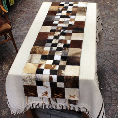 Cowhide brown and white table runner