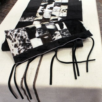 Cowhide black and white table runner
