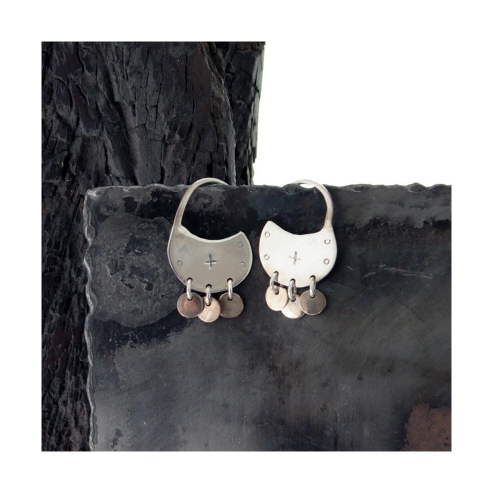 Aros de plata redondos chicos con colgante |El Boyero