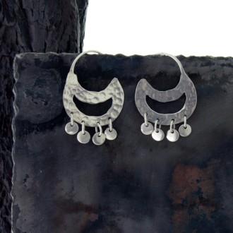 'Mapuche' design silver earrings |El Boyero
