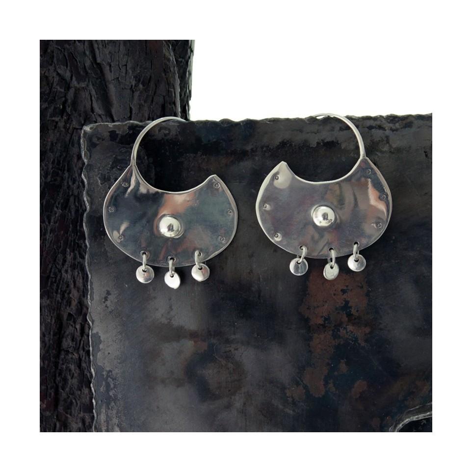 Aros de plata redondos grandes con colgantes |El Boyero