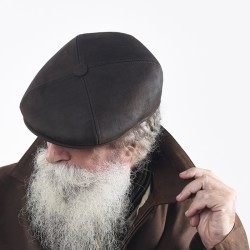 Black cow leather beret