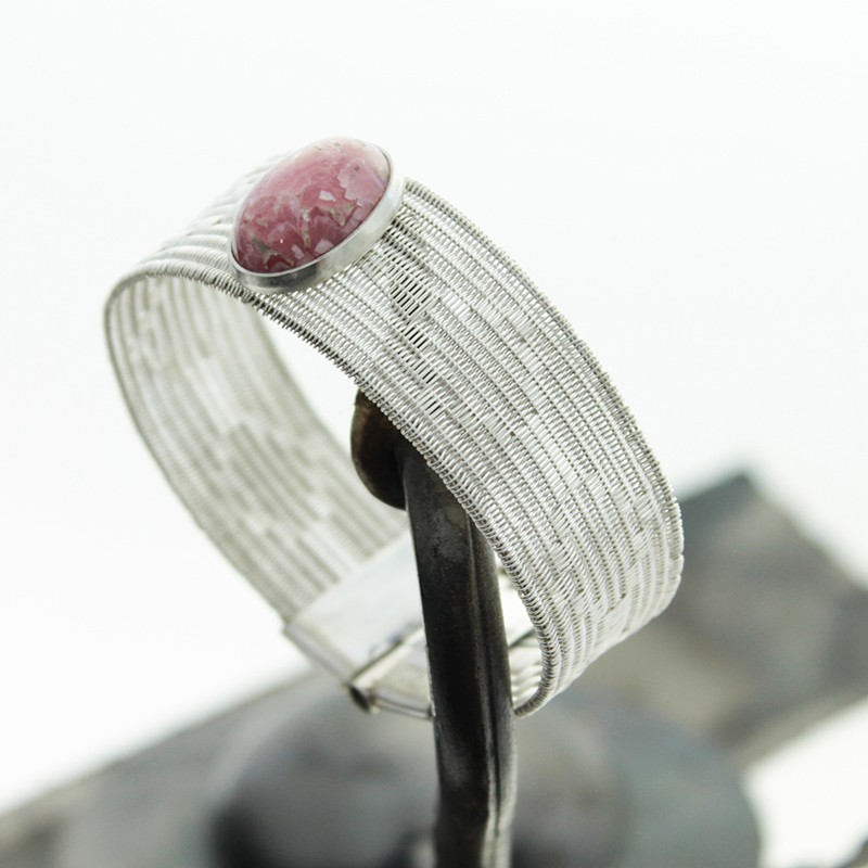 Sterling Silver Threads Thin Bracelet With Rhodochrosite Stone