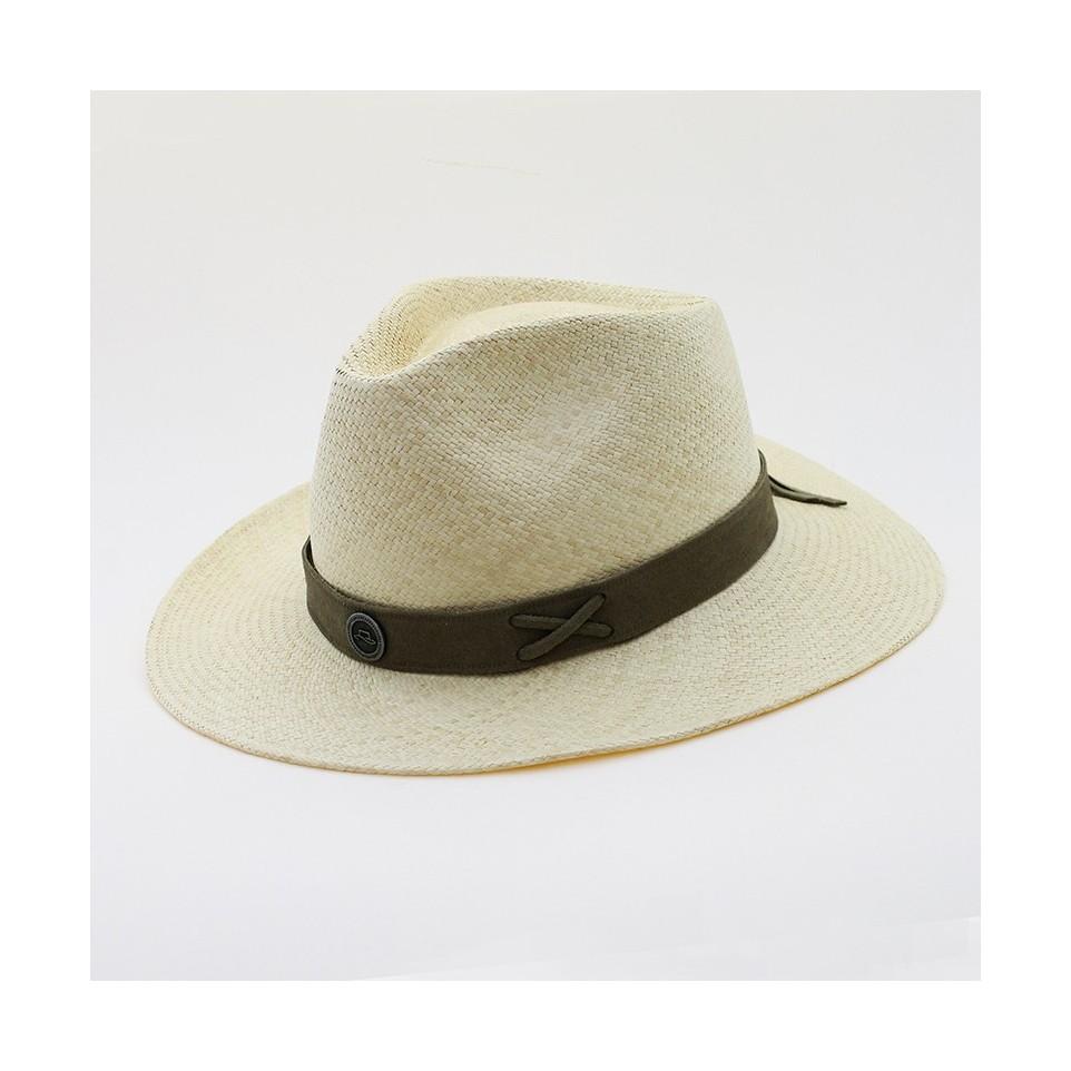 """Sombrero """"Panamá"""" con vincha de cuero. Color natural."""