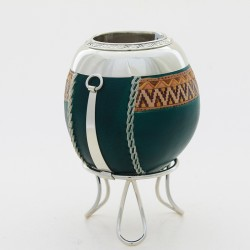 Gourd Mate covered in leather – Engraved and painted |El Boyero