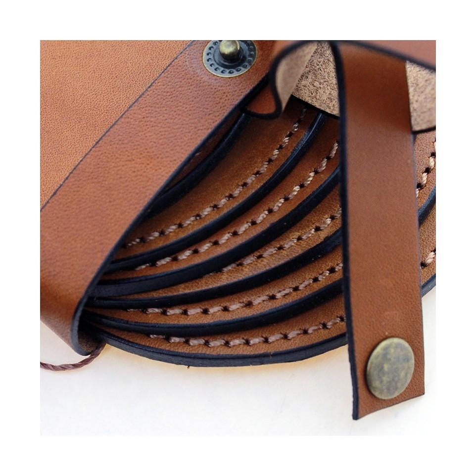 Six leather coasters set