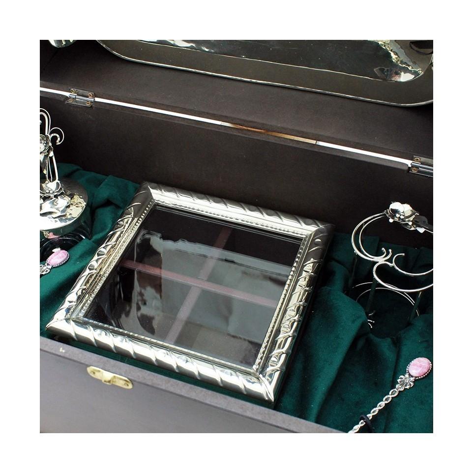 Caja de madera con set de bandeja, azucarera y caja de te