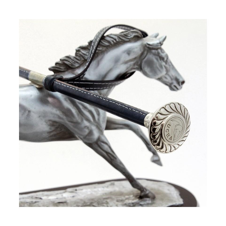 Fusta de cuero con boton de alpaca galloneado| El Boyero