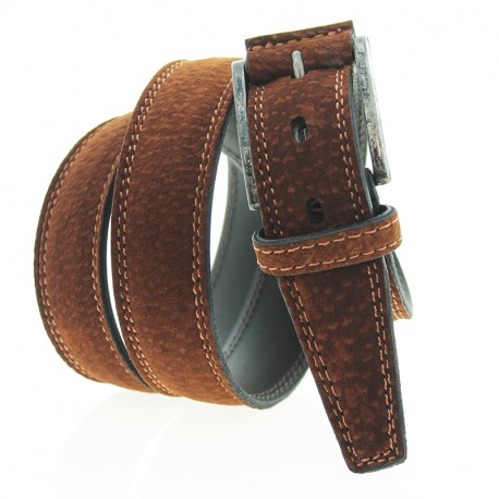 Carpincho leather belt with double stitching