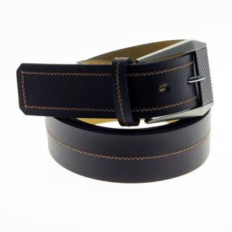 Cinturon cuero color guinda al corte con constura central |El Boyero