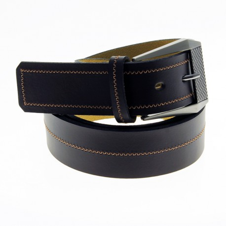Cow leather belt with sewing