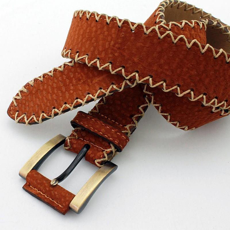 19e829654 Productos>Cinturones>Carpincho>Cinturon artesanal cuero carpincho  El  Boyero. Cinturón carpincho costura lateral X. Loading zoom