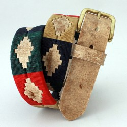 Raw cow leather belt with pattern