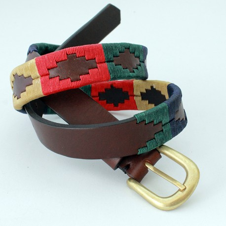 Cow leather womens belt with embroidery