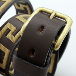 Greek pattern embroidered cow leather belt