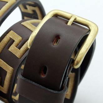 Greek pattern embroidered cow leather belt |El Boyero
