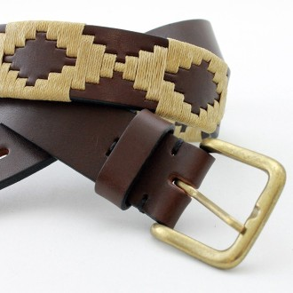 Beige pampa pattern embroided leather belt