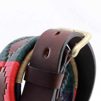 Multicolored embroidered cow leather belt