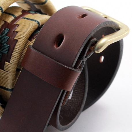 Embroidered beige and green pattern leather belt