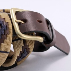 Embroidered beige and blue pattern leather belt