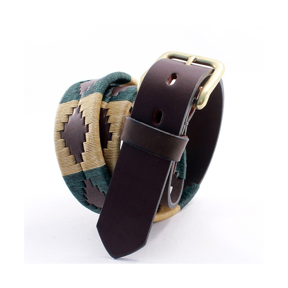Pampa pattern embroidered leather belt