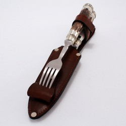 Deer horn handle knife and fork set