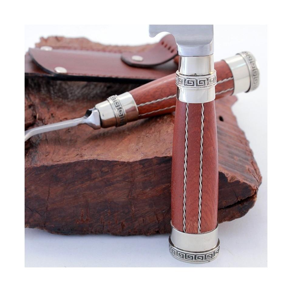 Wooden handle knife and fork set
