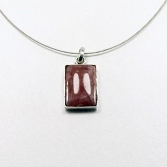 Silver necklace with rectangular Rodocrosite pendant|El Boyero